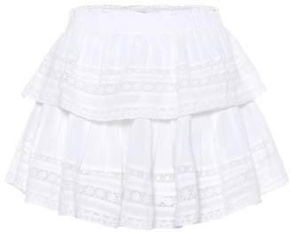 LoveShackFancy Ruffled cotton miniskirt