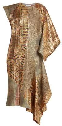 J.W.Anderson Asymmetric-detail patchwork jacquard dress