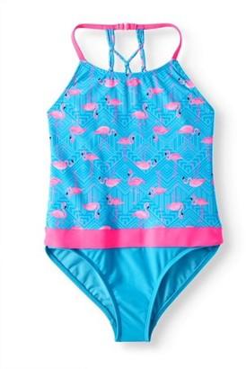 Wonder Nation Lattice Back One-Piece Swimsuit (Little Girls & Big Girls)