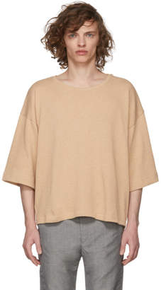 House of the Very Islands Tan Oversized Knit T-Shirt