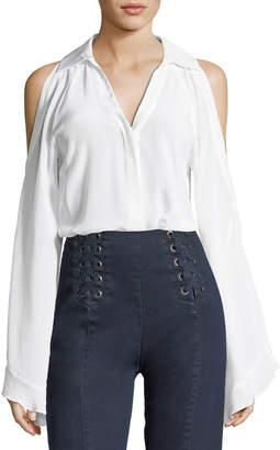 Nanette Lepore Cordoba Silk Cold-Shoulder Blouse