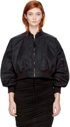 Alexander Wang Black Cropped Nylon Bomber Jacket