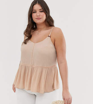 Asos DESIGN Curve crinkle cami with lace inserts and ring detail sun top