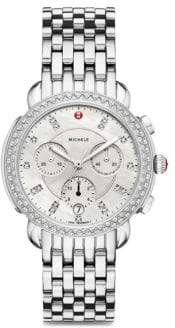 Michele Sidney Stainless Steel& Diamond Chronograph Bracelet Watch
