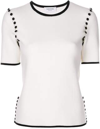 Thom Browne Tipping-Striped Bridal Button Tee In Fine Merino Wool
