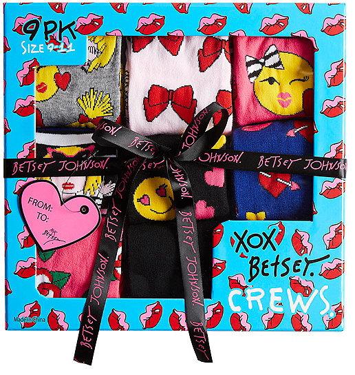 Betsey Johnson9 Pack Oh So Emoji Betsey Crew Sock Gift Box