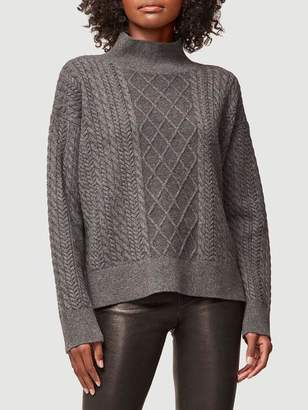 Frame Cable Mock Cashmere Sweater