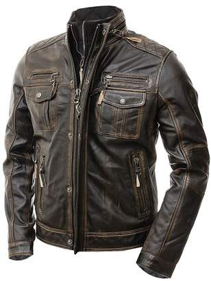 The Custom Jacket Men's Motorcycle Distressed Cafe Racer Real Leather Jacket
