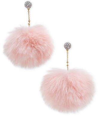 Kate Spade Gold-Tone Pave Orb & Faux Fur Pouf Drop Earrings