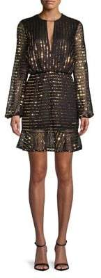 Cooper St Sequin-Stripe Mesh Blouson Dress