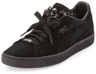 Puma Basket Jeweled Suede Sneaker, Black $120 thestylecure.com