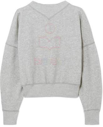 Etoile Isabel Marant Odilon Embroidered Cotton-blend Jersey Sweatshirt - Gray