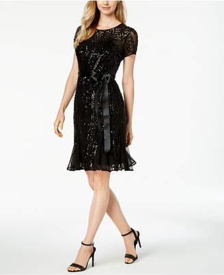 R & M Richards Petite Sash-Belt Sequined Dress