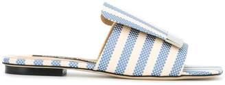 Sergio Rossi striped slider sandals