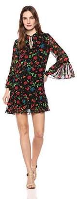 Calvin Klein Women's Chiffon Ruffle Dress with Neck Tie