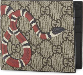 Gucci Beige Kingsnake Print Gg Supreme Billfold Wallet
