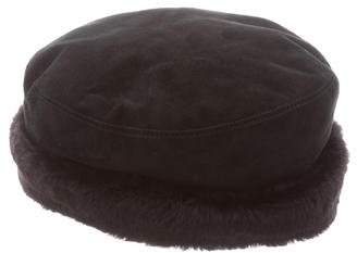Eric Javits Suede Shearling Hat