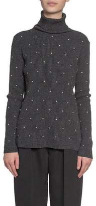 Marc Jacobs Embroidered Wool-Cashmere Turtleneck Sweater