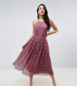 Asos Tall DESIGN Tall lace pinny scallop edge prom midi dress