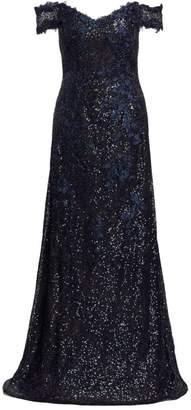Rene Ruiz Collection Off-The-Shoulder Sequin Gown