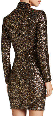Dress the Population Janis Mock-Neck Long-Sleeve Body-Con Mini Sequin Cocktail Dress