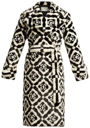 Mary Katrantzou Stokes Double Breasted Geometric Faux Fur Coat - Womens - Black White