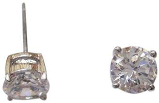 Kenneth Jay Lane CZ by 2CTTW Round CZ Rhodium Plated 4 Prong Post Stud Earrings