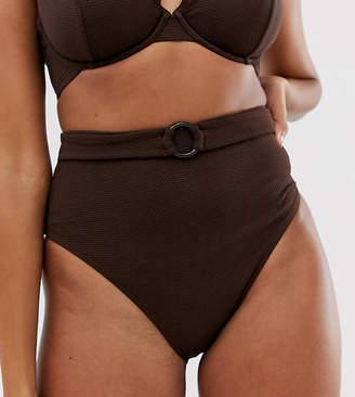 Peek & Beau Exclusive high waist bikini bottom with tort belt in coffee rib