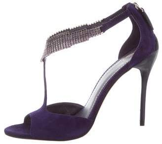 Brian Atwood Embellished Suede Sandals
