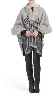 Knit Animal Print Ruana With Faux Fur Collar And Trim