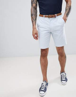Burton Menswear Regular Fit Chino Shorts With Belt In Light Blue