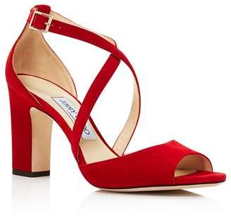 Jimmy Choo Women's Carrie 85 Suede Crisscross High-Heel Sandals