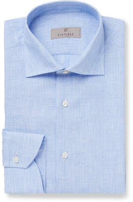 Canali Blue Striped Linen Shirt - Blue