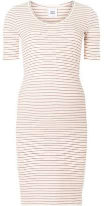 Dorothy Perkins Womens **Mamalicious Maternity Oatmeal Striped Midi Shift Dress