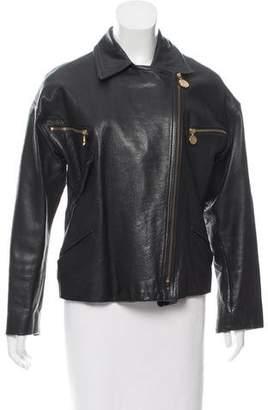 Donna Karan Leather Biker Jacket