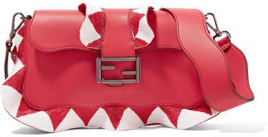 Fendi - Baguette Bead-embellished Ruffled Leather Shoulder Bag - Red