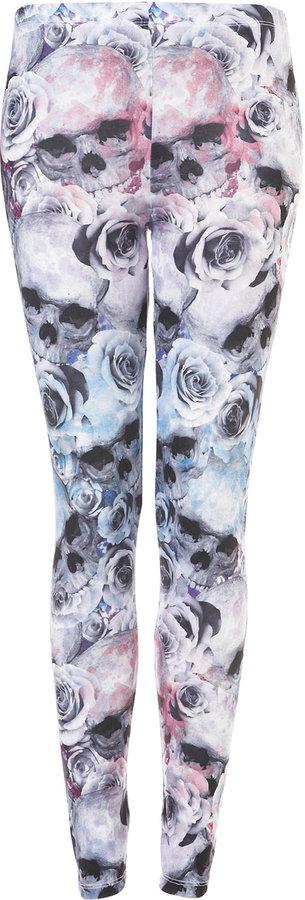 Skulls and Roses Print Leggings