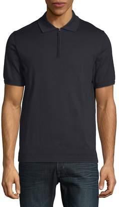 Brioni Men's Zip-Neck Cotton Polo Shirt
