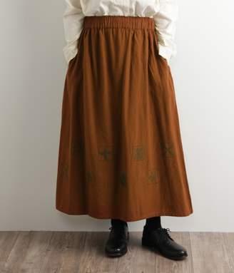 【送料無料】ノルディックタイル刺繍 ギャザースカート(A・キャメル)[SALE]