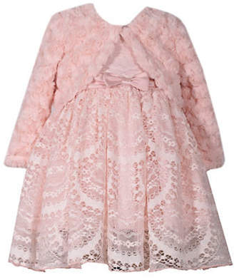 Iris & Ivy Baby Girl's Two-Piece Faux Fur Jacket Lace Dress