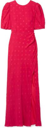 Saloni Annie Shirred Devoré Silk-crepe Maxi Dress - UK6