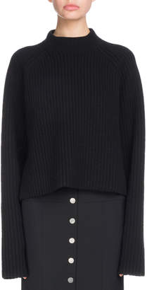 Proenza Schouler Crewneck Long-Sleeve Cropped Ribbed Cashmere-Blend Sweater