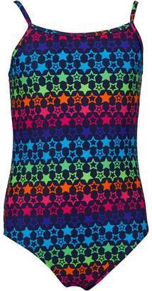 Board Angels Girls Neon Star Print Swimsuit Navy/Multi