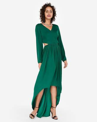 Express Satin Keyhole Cut-Out Hi-Lo Maxi Dress