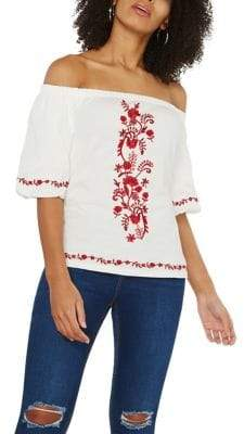 Dorothy Perkins Embroidered Off-the-Shoulder Top