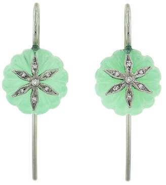 Cathy Waterman Chrysoprase Diamond Wildflower Bead Earrings - Platinum
