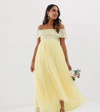 Maya Maternity Bridesmaid delicate sequin bardot high low maxi dress in lemon