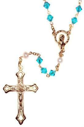 Swarovski Rosaries Gold Plated Rosary made with Zircon Blue Crystal Elements (December)