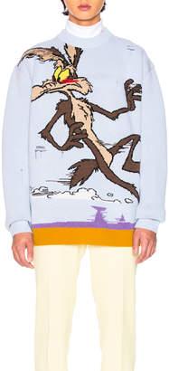 Calvin Klein Coyote Crew Neck Sweater in Cerulean & Multicolor | FWRD