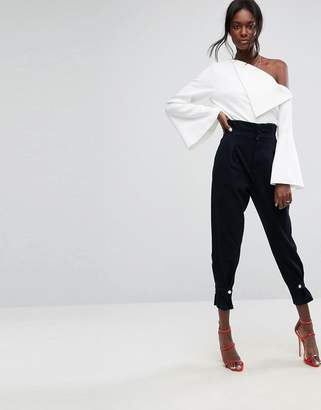 Asos DESIGN high waisted denim pants with cinch hem